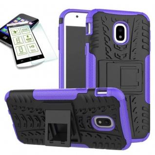 Hybrid Case Tasche 2teilig Lila für Samsung Galaxy J7 2017 J730F + H9 Hartglas