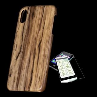 Für Apple iPhone XS MAX Tasche Holz Muster 5 Hart Cover + H9 Glas Case Schutz
