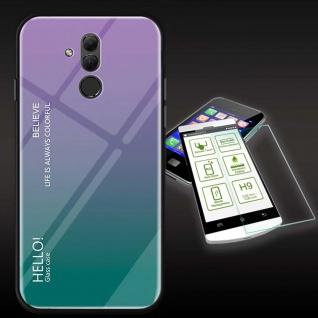 Für Huawei Mate 20 Lite Color Effekt Lila Tasche Hülle + H9 Hart Glas Cover Neu