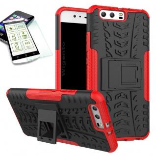 Hybrid Case Tasche Outdoor 2teilig Rot für Huawei P10 Hülle + Hartglas Etui