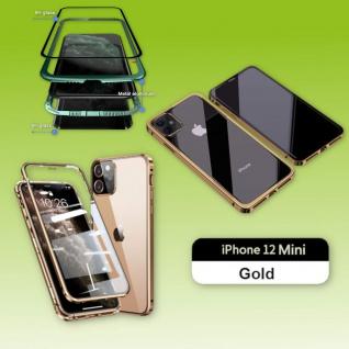 Beidseitiger Magnet Glas Handy Tasche Gold für Apple iPhone 12 Mini Etuis Cover