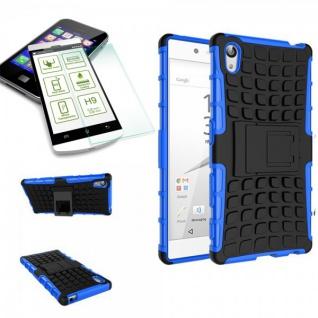 Hybrid Case Blau für Sony Xperia Z5 Premium 5.5 Zoll + H9 Hartglas Tasche Neu