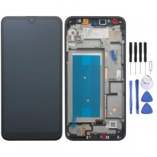 Für LG K50s Single SIM Schwarz Display LCD Einheit Touch mit Rahmen Ersatz Neu