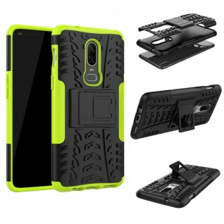 Für OnePlus 6 Six Hybrid Case 2teilig Outdoor Grün Etui Tasche Hülle Cover Neu