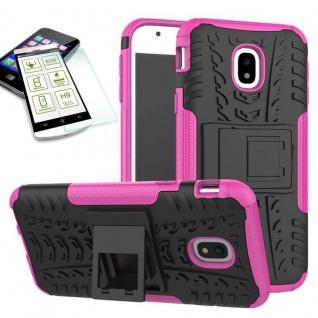 Hybrid Case Tasche 2teilig Pink für Samsung Galaxy J3 2017 J330F + H9 Hartglas