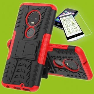 Für Motorola Moto G7 / G7 Plus Hybrid Tasche Etuis Outdoor 2teilig Rot + H9 Glas