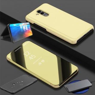Für Huawei P30 Clear View Smart Cover Gold Etuis Tasche Hülle Wake UP Case Neu