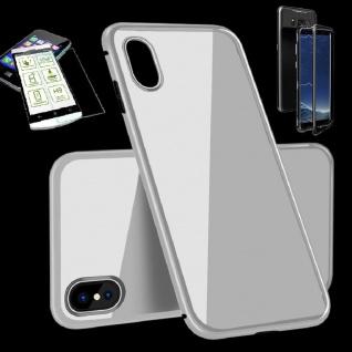 Für Apple iPhone XS MAX Magnet Glas Tasche Voll Silber + 0, 26 H9 Glas Cover Neu