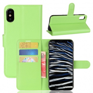 Schutzhülle Grün für Apple iPhone X 5.8 Zoll Bookcover Tasche Case Cover Top Neu