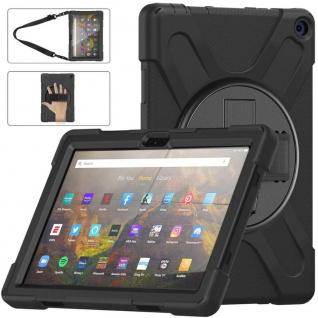 Für Amazon Kindle Fire HD 10 / 10 Plus 2021 Hybrid Outdoor Schwarz Tasche Hülle