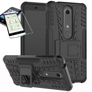 Für Nokia 6 5.5 2018 Hybrid Tasche Outdoor 2teilig Schwarz Hülle + H9 Glas Case