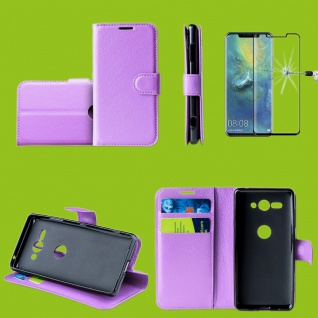 Für Huawei P30 Pro Tasche Wallet Lila Hülle Etuis + H9 4D Curved Hart Glas Case