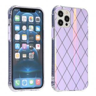 Für Apple iPhone 12 Mini Shockproof TPU Rauten Muster Tasche Hülle Etui Lila