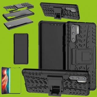 Für Huawei P30 Pro Hybrid Tasche Etuis 2teilig Schwarz Hülle + 4D Curved H9 Glas