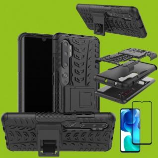Für Xiaomi Mi Note 10 Lite Hybrid Handy Tasche Schwarz 4D Curved H9 Glas Panzer