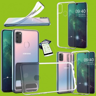 Für Samsung Galaxy M21 Silikon TPU Transparent + H9 Glas Handy Tasche Hülle Etui