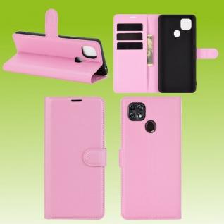 Für ZTE Blade 10 Smart Handy Tasche Wallet Rosa Etuis Kunst-Leder Hülle Case Neu