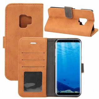 Deluxe Retro Tasche Wallet Braun für Samsung Galaxy S9 G960F Hülle Case Cover