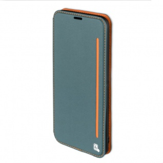Flip Tasche für Samsung Galaxy S8 G950 G950F Hülle Case Etui blaugrau orange