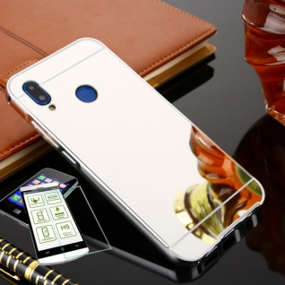 Alu Bumper 2 teilig Silber + 0, 3 H9 Glas für Huawei P20 Lite Tasche Hülle Case