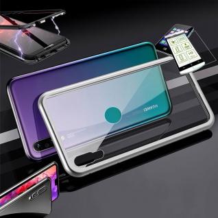 Für Huawei P30 Lite Magnet Glas Tasche Silber / Transparent + 0, 26 H9 Glas Etuis