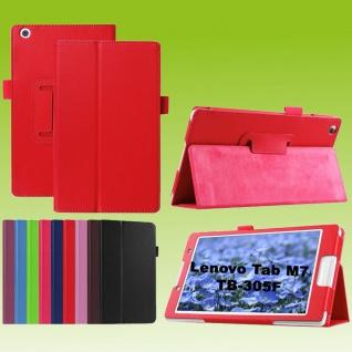Für Lenovo Tab M7 TB-7305F Rot Kunst-Leder Hülle Cover Tablet Tasche Etuis Case