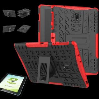 Für Samsung Galaxy Tab S4 10.5 T830 Hybrid Outdoor Rot Tasche + 0.4 H9 Hart Glas