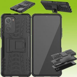 Für Xiaomi Redmi Note 10 / 10s Hybrid Case Outdoor Schwarz Handy Tasche Etuis