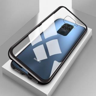 Für Xiaomi Redmi Note 9 Magnet Metall Glas Schwarz Handy Tasche Hülle Case Etuis