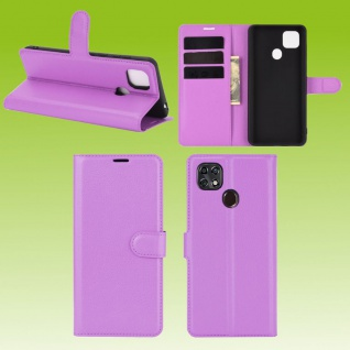 Für ZTE Blade 10 Smart Handy Tasche Wallet Lila Etuis Kunst-Leder Hülle Case Neu