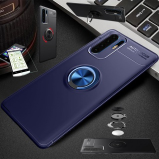 Für Huawei P30 Lite Dünn Magnet Metall Ring Tasche Hülle Blau + H9 Glas Etuis