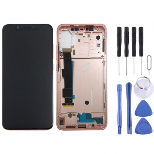 Für Xiaomi Mi 8 Display Full LCD Touch mit Rahmen Reparatur Ersatz Pink Neu