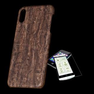 Für Apple iPhone XS MAX Tasche Holz Muster 1 Hart Cover + H9 Glas Case Schutz