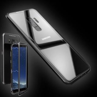 Für Samsung Galaxy S9 Plus Magnet / Metall / Glas Transparent Schwarz Tasche Neu