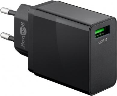 Goobay USB Schnellladegerät QC3.0 18W Schwarz Lade Adapter Power Delivery
