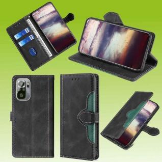 Für Xiaomi Redmi Note 10 10s Design Handy Tasche Schwarz Etuis Kunst-Leder Hülle