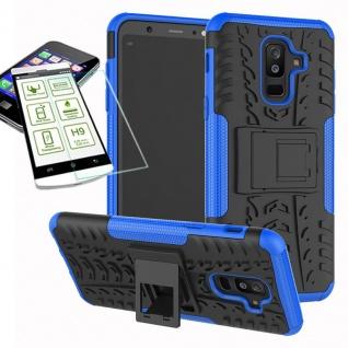 Hybrid Tasche Outdoor 2teilig Blau für Samsung Galaxy A6 A600 2018 Hülle + Glas
