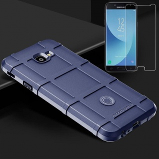 Für Samsung Galaxy J6 Plus J610F Tasche Shield Silikon Hülle Blau + H9 Glas Case