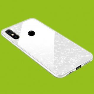 Für Xiaomi Redmi Note 8 Color Effekt Glas Handy Cover Weiß Tasche Etuis LUXUS