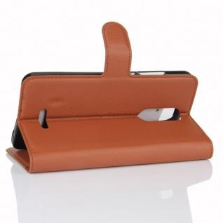 Tasche Wallet Premium Braun für Wiko Upulse Lite Hülle Case Cover Etui Schutz - Vorschau 4
