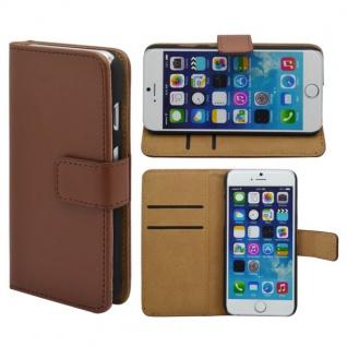 Wallet Tasche Deluxe Braun für Apple iPhone 6 4.7 Handy Hülle Zubehör Case Neu