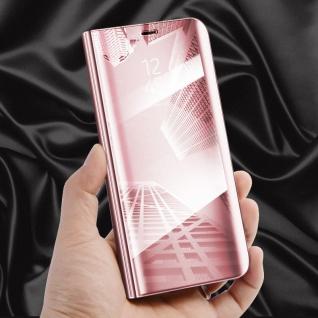 Für OnePlus 6 Six Clear View Smart Cover Pink Tasche Hülle Etui Wake UP Schutz