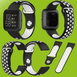 Für Fitbit Versa 2 Kunststoff Silikon Armband für Frauen Größe S Schwarz-Weiß