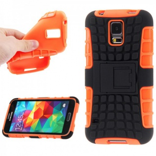 Hybrid Case 2 teilig Robot Orange Cover Hülle für Samsung Galaxy S5 Mini G800 F