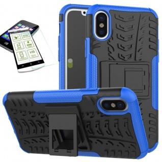 Für Apple iPhone XR 6.1 Hybrid Case 2teilig Blau + Hart Glas Tasche Hülle Cover