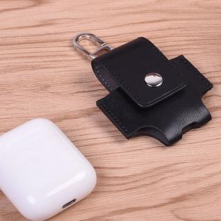 Kunstleder Tasche für Apple AirPods Schwarz Schutz Etui Tasche Halter Zubehör