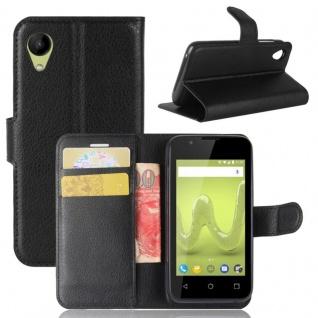 Tasche Wallet Premium Schwarz für Wiko Sunny 2 Hülle Case Cover Etui Schutz Neu