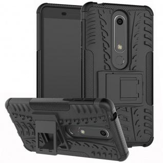 Für Nokia 6 5.5 2018 Hybrid Case 2teilig Outdoor Schwarz Tasche Hülle Cover Neu