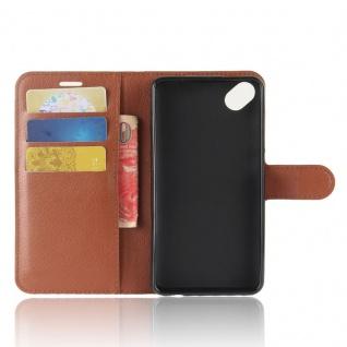 Tasche Wallet Premium Braun für Wiko Sunny 2 Plus Hülle Case Cover Etui Schutz - Vorschau 4