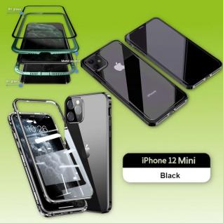 Beidseitiger Magnet Glas Handy Tasche Schwarz für Apple iPhone 12 Mini Etuis Neu